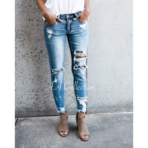 89520b72296 Denim - distressed destroyed ripped denim jean skinny